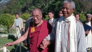 Dalai Lama with Nelson Mandela in Africa AP