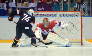 Olympics: Ice Hockey-Men's Prelim Round-USA vs RUS