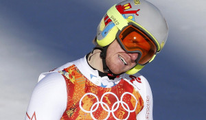 Ted Ligety of the U.S. reacts in the finish area after competing in the downhill run of the men's alpine skiing super combined event during the 2014 Sochi Winter Olympics at the Rosa Khutor Alpine Center