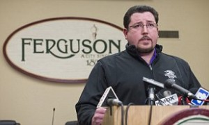 Ferguson Mayor James Knowles announces the resignation of Police Chief Thomas Jackson during a press conference in Ferguson, Missouri