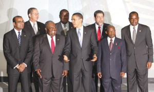 U.S. President Obama poses with leaders of the Caribbean islands during an official photo session at the 5th Summit of the Americas in Port of Spain