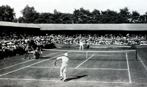 Sport. Tennis. All England Lawn Tennis Championships. Wimbledon, London, England. 1905. Mens Singles Final. Great Britain's Laurie Doherty beat Australia's Norman E.Brookes to win the title.