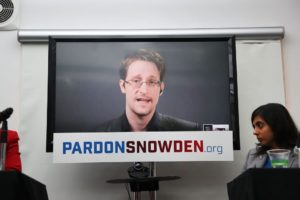 Edward Snowden Speaks Via Video Conference At Launch Of Campaign Calling On Obama To Pardon Him