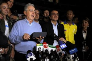 "Colombia's former President Alvaro Uribe during a press conference after the nation voted ""No"" in a referendum on a peace deal between the government and FARC rebels, in Rionegro"